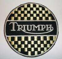 "Triumph Motorcycle Biker British Embroidered Patch~3"" Round~Iron Sew On"