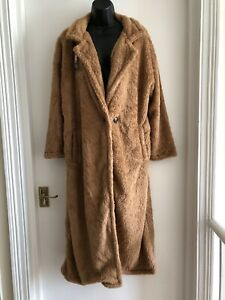 Damen lange flauschige Teddybär Mantel Jacke Größe M