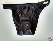 Black Semi Wet Look/Shimmer Hipster Spandex Bikini Brief Pants  UK 8 S