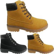 NEW WOMENS FLAT LOW BLOCK BIKER LACE UP WORK HIKING WALKING ANKLE BOOTS SIZE TOP