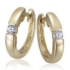 Goldmaid Gold Creolen 375 Gelbgold Solitär Ohrringe 2 weiße Zirkonia Echtschmuck