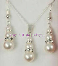 1 set 6-8-10mm bridal white shell pearl&crystal pendant earring