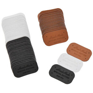 24Pcs Faux Leather Labels Tags Hand Made Garment Sewing Accessories DIY Crafts
