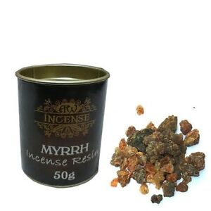 50gm Tub Myrrh Resin Incense, for use with Charcoal Tablets, Room Fragrance