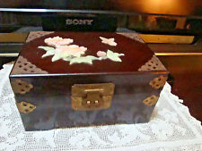 Vtg Chinese Jewelry Box Rosewood Raised MOP Brass Mounts Two Handles WOW