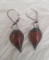 Earrings Sterling Silver 925 Glass Teardrop