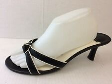 Fioni Womens 10 WIDE Black Faux Leather Slides Sandals Open Toe Shoe Kitten Heel