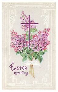 Vintage Easter Greetings Postcard Embossed Cross Flowers
