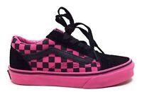 Vans Unisex Kids Old Skool Mono Check Sneakers Black Pink Size 3.5K