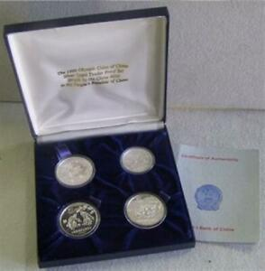 1980 SILVER CHINA 4 COIN OLYMPIC SPORTS PROOF SET BOXED & COA