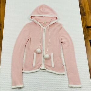 Tommy Hilfiger Tommy Jeans Zip Hoodie Sweater Women Size M Pom Poms Pockets 2004