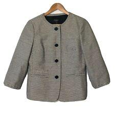 Talbots 6 Swing Coat Blazer Womens Navy White Metallic Stripe 3/4 Sleeve Career