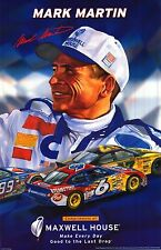 SPORTS POSTER~Mark Martin Nascar Maxwell House Car #6 2001 Roush Racing Signed~