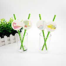 12pcs Dinosaur Theme Straws Party Decoration Biodegradable Paper Straw Tube