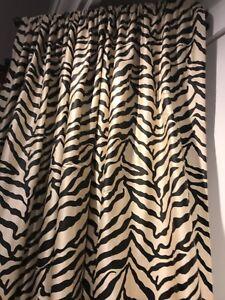"NIP Silk lined Dupioni Curtains Zebra Cream Black 84""length"