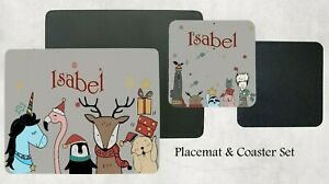 Personalised Kids Children's Table Placemat & Coaster, Magical Christmas Gift