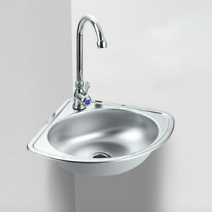 Stainless Steel Triangle Corner Wash Basin Thick Small Sink Wall Mounted Single
