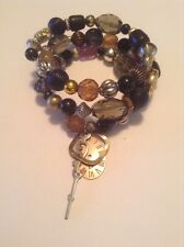 Wrap Around Stackable Bracelet Chunky Beads Steampunk Theme Charms #477