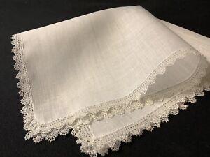 #6852🌟Antique TINY Linen & Teensy Needlelace Wedding Handkerchief Heirloom