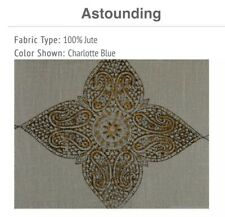 "Creative Threads Single Curtain Panel Charlotte Blue Astounding (100% Jute) 96"""