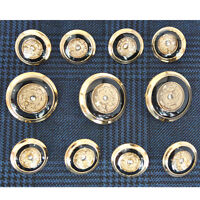 Gold Metal Black Buttons Set for Blazer Sport Coat or Suit Jacket