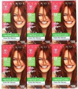 6 Clairol Herbal Color Me Vibrant 44 Paint The Town Deep Red Permanent Hair Dye