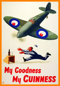 Vintage Poster GUINNESS Retro Beer Advert ART PRINT Home Bar Pub A3 A4 Spitfire