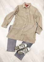 Tommy Hilfiger 100% Pure Linen Shirt Khaki Sz 8 10 Long Sleeve Blogger