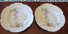 2 ls&s lewis strauss and son Limoges France Blue Carnation Scallop  Soup Bowls