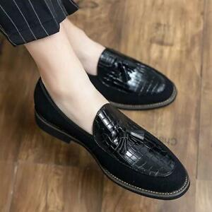 Mens Pointed Toe Flats Tassel Formal Dress Party Shoes Oxfords Slip On Loafers
