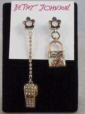 Betsey Johnson Rose Goldtone WANDERLUST Lock Whistle Mismatch Drop Earrings $35