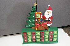 Beautiful Wood Wooden Christmas Count Down Wood Advent Calendar 25 day Santa