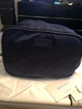 Gucci Unisex Nylon Guccissima Zip Around Leather Toiletry Bag Pouch Vibrant Blue