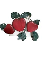 Home Interior Red Wood Apple & Metal Leaves Wall Hanging Swag Plaque (2 Plaques)