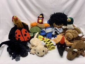 Plush Hand Puppets Pretend Character Lot Mix of Animals and Creatures by Caltoy