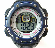 Men Boys Watch Sports Digital Alarm Date Day Backlight Stopwatch Blue WR Plastic