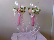 PAIR OF TAPER Wine GLASS CANDLE HOLDER Rose & ribbon Gift Wedding Birthday Xmas