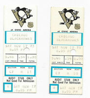 1973 ticket stub lot of 2 Pittsburgh Penguins v Chicago Blackhawks with holes