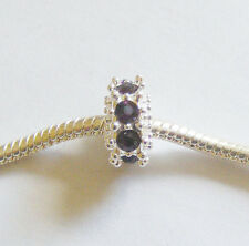 1 Metal Silver Plated Charm Bead - Dark Purple Rhinestones