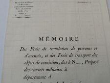 JUSTICE CRIMINELLE 1813 /Mémoire des frais de translation prévenus et d'accusés
