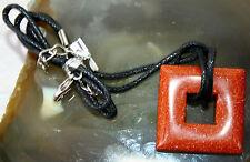 Sun Sitara Goldstone Crystal Square Gemstone Pendant Necklace Reiki Blessed