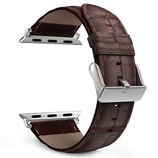 Apple Watch Band 42mm Serie 1/2 Genuine Leather Crocodile Stainless steel Brown