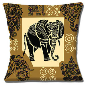 """NEW INDIAN ELEPHANT HENNA DESIGN BROWN YELLOW BLACK 16"""" Pillow Cushion Cover"""