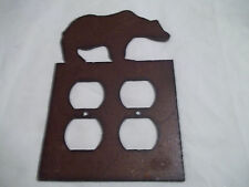 Brown Bear Rustic Metal Double Outlet Cover Decoration Lodge Cabin Wilderness
