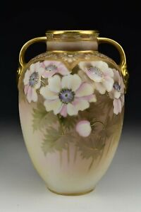 Nippon Morimura Hand Painted Porcelain Vase with Flowers