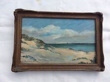 Vintage Seascape Miniature Painting by M.L. Rollins