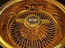 14X7 REVERSE 2 PC  K/O OG WIRE SPOKE WHEELS LOWRIDER ALL GOLD USA 24K SET OF 4