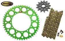 Gold Chain and Green Rear Renthal Sprocket 13 51 Fits Kawasaki Kx125 1994-2005