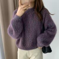 Womens Fashion Glitter Puff Sleeves Pullover Loose Knitted Sweater Cardigan SKGB
