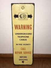 Vintage Universal Telephone Inc Telephone Cable Porcelain Enamel Sign